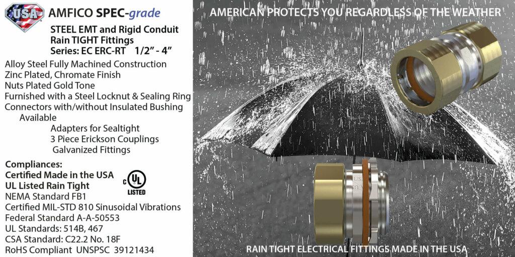 Rain Tight EMT and Rigid Conduit Fittings Steel USA