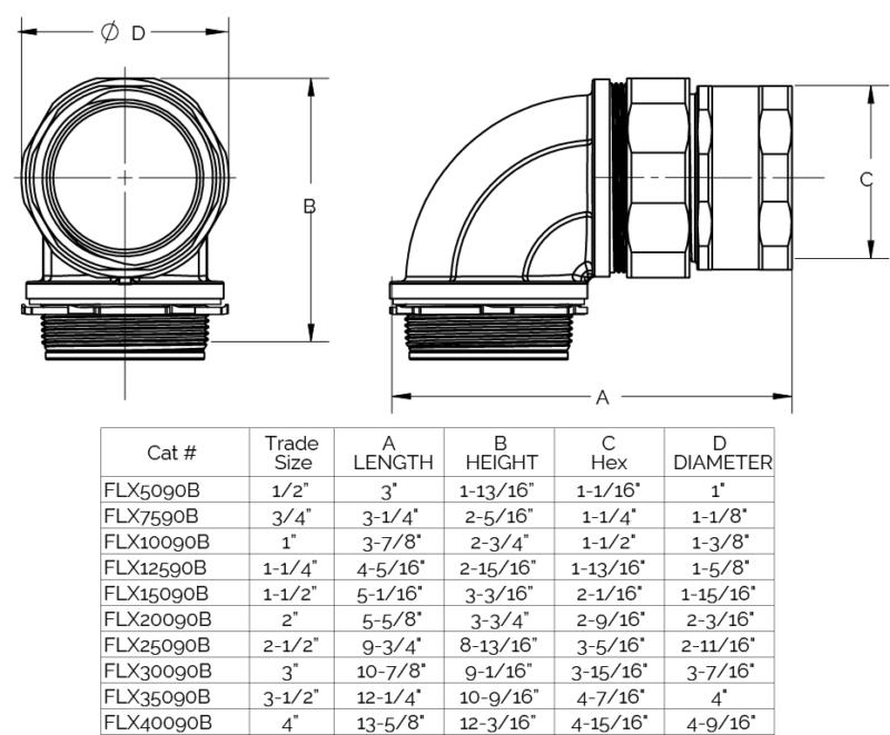 Flex 90 deg Fitting Dimensions